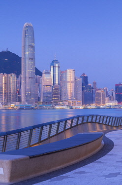 CH12041AW Tsim Sha Tsui promenade and skyline at dawn, Tsim Sha Tsui, Kowloon, Hong Kong