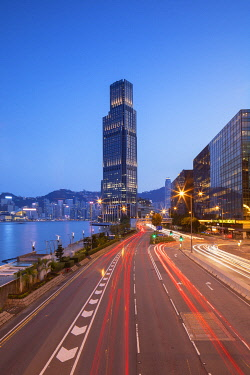 CH12051AW Rosewood Hotel and K11 Atelier on Salisbury Road at dusk, Tsim Sha Tsui, Kowloon, Hong Kong