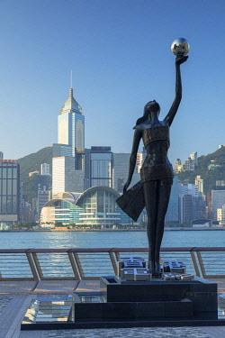 CH12064AW Tsim Sha Tsui promenade and skyline, Tsim Sha Tsui, Kowloon, Hong Kong