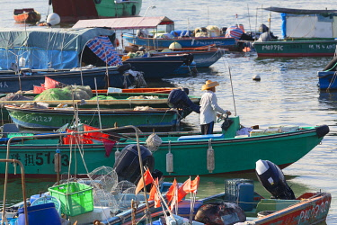 CH12084AW Fishing boats in harbour, Cheung Chau, Hong Kong