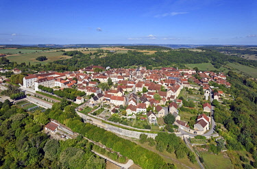 HMS3339117 France, Côte d'Or, Flavigny sur Ozerain, labelled the Most Beautiful Villages of France (The Most Beautiful Villages of France) (aerial view)