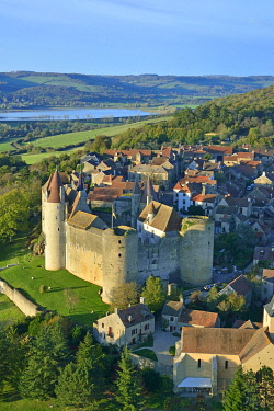 HMS3438250 France, Cote d'Or, Chateauneuf en Auxois, labelled The Most beautiful Villages of France, the castle (aerial view)
