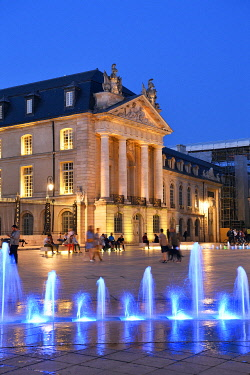 HMS3484284 France, Cote d'Or, Dijon, area listed as World Heritage by UNESCO, fountains on the place de la Libération (Liberation Square) in front of the Palace of the Dukes of Burgundy which houses the town ha...