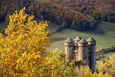HMS3416940 France, Cantal, regional natural park of the volcanoes of Auvergne, country of Salers, Tournemire, labelized the Most Beautiful Villages of France, the castle of Anjony of XVe century