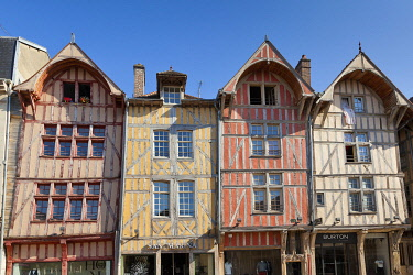 France, Aube, Troyes, street Emile Zola, half-timbered house or house with timber framings