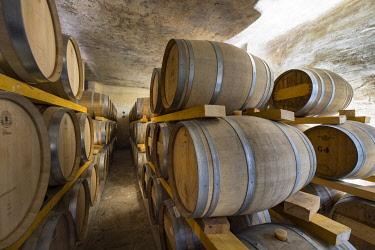 HMS3409218 France, Haute Corse, Aleria, Pietra and Mavella distillery, underground cellar with oak barrels for aging whiskeys