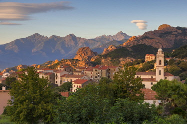 HMS3485025 France, Corse du Sud, Gulf of Porto, listed as World Heritage by UNESCO, Piana, labeled the Most Beautiful Villages of France