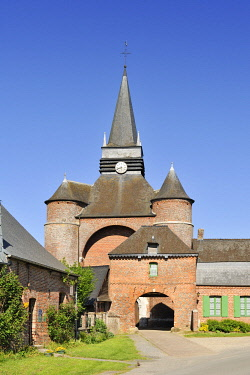 HMS3277172 France, Aisne, Parfondeval, labeled the Most Beautiful Villages of France, Saint Medard fortified church