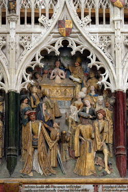 HMS3528379 France, Somme, Amiens, Notre-Dame cathedral, jewel of the Gothic art, listed as World Heritage by UNESCO, the southern end of the choir, high relief of Saint Firmin's life