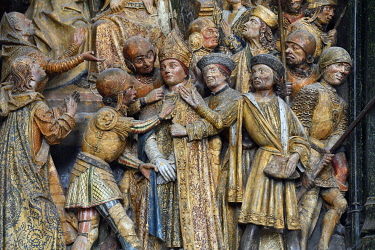 HMS3528381 France, Somme, Amiens, Notre-Dame cathedral, jewel of the Gothic art, listed as World Heritage by UNESCO, the southern end of the choir, high relief of Saint Firmin's life