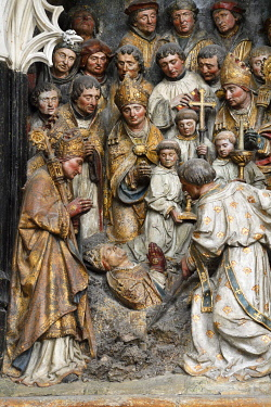 HMS3528389 France, Somme, Amiens, Notre-Dame cathedral, jewel of the Gothic art, listed as World Heritage by UNESCO, the southern end of the choir, high relief of Saint Firmin's life
