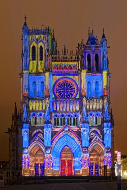 HMS3528398 France, Somme, Amiens, Notre-Dame cathedral, jewel of the Gothic art, listed as World Heritage by UNESCO, sound and light show