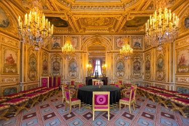 HMS3415006 France, Seine et Marne, Fontainebleau, Fontainebleau royal castle listed as UNESCO World Heritage, the Salle du Conseil (the cabinet room)