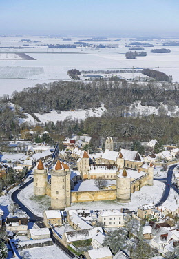 HMS3419636 France, Seine et Marne, Blandy les Tours, Blandy les Tours Castle A 13th century medieval castle listed as Historic Monument in 1889, aerial view, In the wintertime