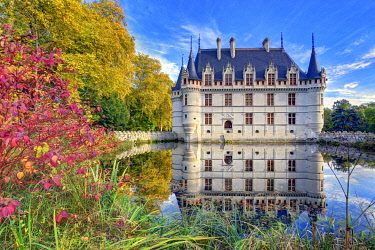 HMS3409891 France, Indre et Loire, Loire valley listed as World Heritage by UNESCO, castle of Azay le Rideau