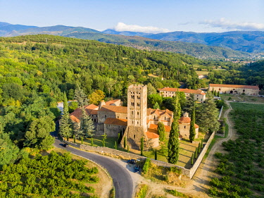 HMS3381201 France, Pyrenees Orientales, Codalet, Abbey of Saint Michel de Cuxa, Regional Natural Park of the Catalan Pyrenees (aerial view)