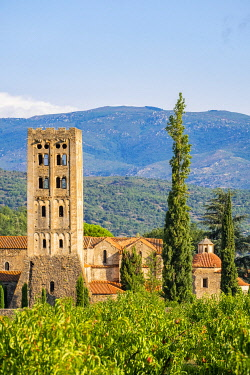 HMS3381209 France, Pyrenees Orientales, Codalet, Abbey of Saint Michel de Cuxa, Regional Natural Park of the Catalan Pyrenees