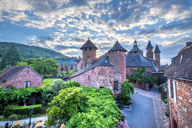 HMS3384608 France, Correze, Dordogne Valley, Collonges la Rouge, labelled Les Plus Beaux Villages de France (The Most Beautiful Villages of France), village built in red sandstone, bell tower Saint Pierre church
