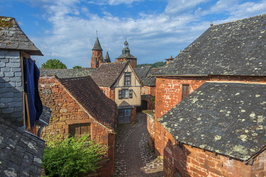 HMS3384640 France, Correze, Dordogne Valley, Collonges la Rouge, labelled Les Plus Beaux Villages de France (The Most Beautiful Villages of France), village built in red sandstone, bell tower Saint Pierre church