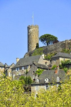 HMS3432127 France, Correze, Turenne, labelled Les Plus Beaux Villages de France (The Most Beautiful Villages of France), castle and the Cesar Tower