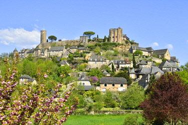 HMS3432128 France, Correze, Turenne, labelled Les Plus Beaux Villages de France (The Most Beautiful Villages of France), castle