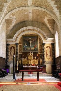 HMS3432136 France, Correze, Turenne, labelled Les Plus Beaux Villages de France (The Most Beautiful Villages of France), Notre Dame Saint Pantaleon church or collegiate church