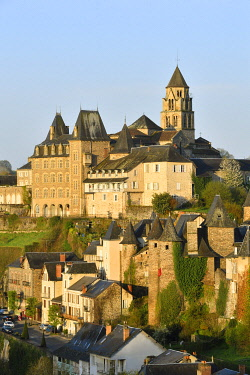 HMS3432149 France, Correze, Vezere valley, Limousin, Uzerche, labelled Les Plus Beaux Villages de France (The Most Beautiful Villages in France), view of the village, Saint Pierre church and the Vezere river