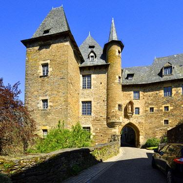 HMS3432161 France, Correze, Vezere valley, Limousin, Uzerche, labelled Les Plus Beaux Villages de France (The Most Beautiful Villages in France), Becharie gate and Cledat Hotel or Becharie castle