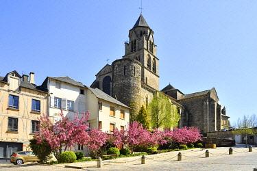 HMS3432170 France, Correze, Vezere valley, Limousin, Uzerche, labelled Les Plus Beaux Villages de France (The Most Beautiful Villages in France), place de la Liberation, Saint Pierre church