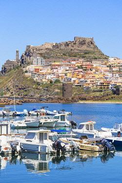 IT536RF Italy, Sardinia, Sassari Province, Castelsardo, View over marina towards the ancient Castle of the Doria