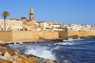 IT547RF Italy, Sardinia, Alghero, View of ancient city walls and the historical center