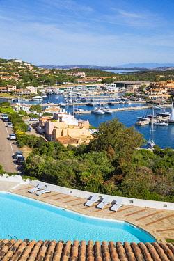 IT557RF Italy, Sardinia, Sassari Province, Costa Smeralda, Porto Cervo, View of Hotel Luci di la Muntagna swimming pool and marina