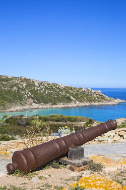IT560RF Italy, Sardinia, Santa Teresa Gallura, Cannon at Longosardo Tower