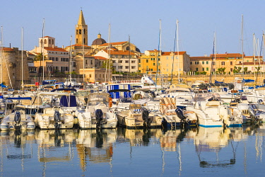 IT562RF Italy, Sardinia, Alghero, View of harbour and the historical center
