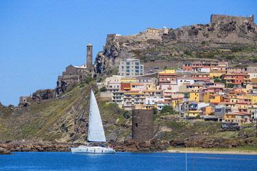 IT12371 Italy, Sardinia, Sassari Province, Castelsardo, View over marina towards the ancient Castle of the Doria