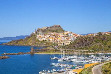 IT12381 Italy, Sardinia, Sassari Province, Castelsardo, View over marina towards the ancient Castle of the Doria