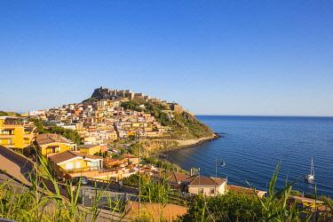 IT12390 Italy, Sardinia, Sassari Province, Castelsardo, View over marina towards ancient castle