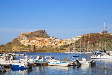 IT12419 Italy, Sardinia, Sassari Province, Castelsardo, View over marina towards the ancient Castle of the Doria