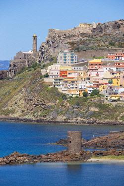 IT12428 Italy, Sardinia, Sassari Province, Castelsardo, View over marina towards the ancient Castle of the Doria