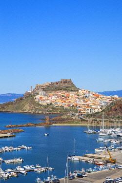 IT12438 Italy, Sardinia, Sassari Province, Castelsardo, View over marina towards the ancient Castle of the Doria