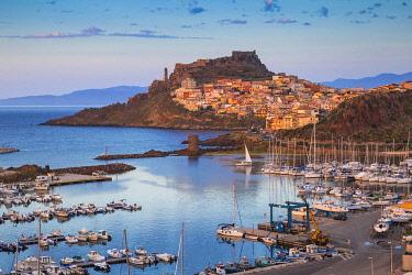 IT12451 Italy, Sardinia, Sassari Province, Castelsardo, View over marina towards the ancient Castle of the Doria