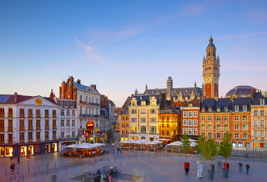 FR387RF The Grand Place and Lille Chamber of Commerce Belfry at Dusk, Lille, France,