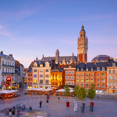 FR04022 The Grand Place and Lille Chamber of Commerce Belfry at Dusk, Lille, France,