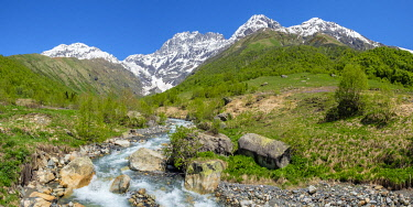 GEO0464AW Ailama peak, and the source of the River Kolrudashi, Racha-Lechkhumi and Kvemo Svaneti region, Georgia.