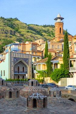 GEO0496AW Sulphur baths and historic buildings in the Abanotubani bath district, Tbilisi (Tiflis), Georgia.