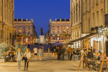 HMS3291216 France, Meurthe et Moselle, Nancy, street Stanislas and Place Stanislas and with his statue or former Royal Place listed as World Heritage by UNESCO built by Stanislas Leszczynski king of Poland and l...