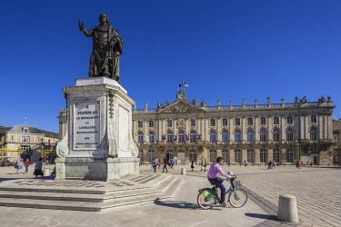 HMS3291220 France, Meurthe et Moselle, Nancy, Place Stanislas with his statue or former Royal Place listed as World Heritage by UNESCO built by Stanislas Leszczynski king of Poland and last Duke of Lorraine in t...