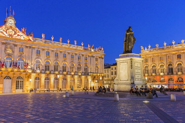 HMS3291245 France, Meurthe et Moselle, Nancy, Place Stanislas with his statue or former Royal Place listed as World Heritage by UNESCO built by Stanislas Leszczynski king of Poland and last Duke of Lorraine in t...