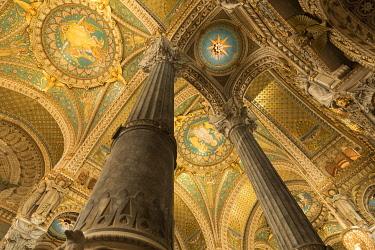 HMS3345824 France, Rhone, Lyon, 5th district, Fourvière district, Notre Dame de Fourvière basilica (19th century), listed as a Historic Monument, a UNESCO World Heritage Site