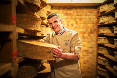 HMS3362875 France, Rhone, Lyon, Christian Janier, cheese ripener, wholesaler, Meilleur Ouvrier de France